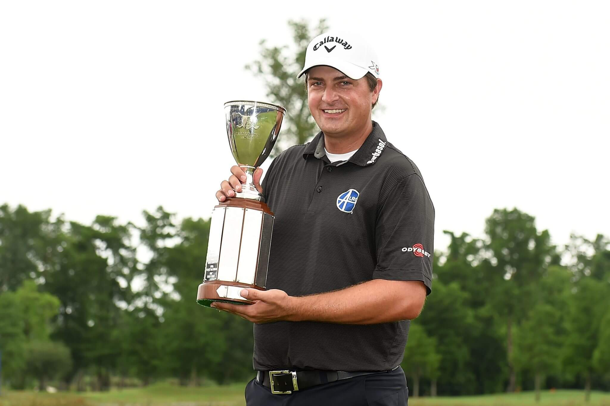 AVONDALE, LA - MAY 02: Brian Stuard celebrates with the trophy following a two hole playoff to win the Zurich Classic at TPC Louisiana on May 2, 2016 in Avondale, Louisiana. (Photo by Stacy Revere/Getty Images)